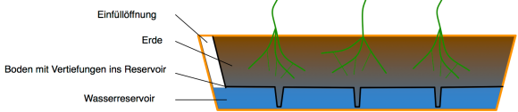 Balkonkasten mit Wasserspeicher – Schemazeichnung